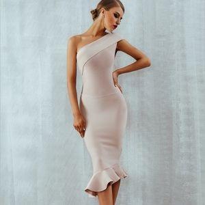 Bandage Asymmetrical Midi Dress Blush/Nude